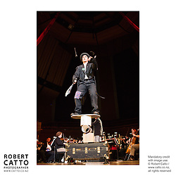 Conductor Marc Taddei leads the Vector Wellington Orchestra in Circus Proms, a concert featuring a range of circus acts sharing a stage with the orchestra.