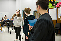 """Lady Macbeth"" K. Trudeau, ""Shakespeare"" M. Maas-Kisiel and ""Portia"" A. LaDue rehearse a scene for ""While Shakespeare Slept"" at Belmont High School Wednesday afternoon.  (Karen Bobotas/for the Laconia Daily Sun)"