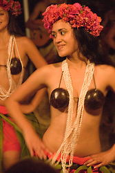 Chile, Easter Island:  The Kari Kari dance troupe dances at the Hotel Hanga Roa in Hanga Roa.  Easter Island and South Pacific dance styles..Photo #: ch338-33067..Photo copyright Lee Foster www.fostertravel.com lee@fostertravel.com 510-549-2202
