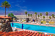 The swimming pool and tile roof at Furnace Creek Inn, Death Valley National Park. California