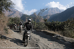 Denver Joe Hicks with the Annapurna Range in the background on Day-7 of our Himalayan Heroes adventure riding from Tatopani to Pokhara, Nepal. Monday, November 12, 2018. Photography ©2018 Michael Lichter.