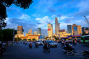 HO CHI MINH CITY/VIETNAM - DECEMBER 11 2014 : Beautiful sunset at district 1 in Sai Gon, VietNam