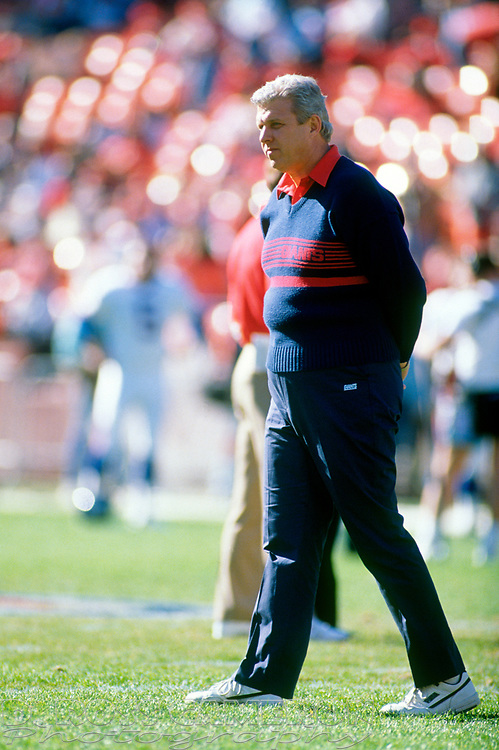 New York Giants head coach Bill Parcells walks the field before the start of his team's NFC championship football game against the San Francisco 49ers, Sunday, Jan. 20, 1991 at Candlestick Park in San Francisco. The Giants won, 15-13 and now move on to the Super Bowl against the Buffalo Bills. (Photo by D. Ross Cameron)