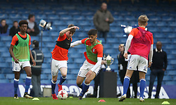 Birmingham City's players warm up prior to the match
