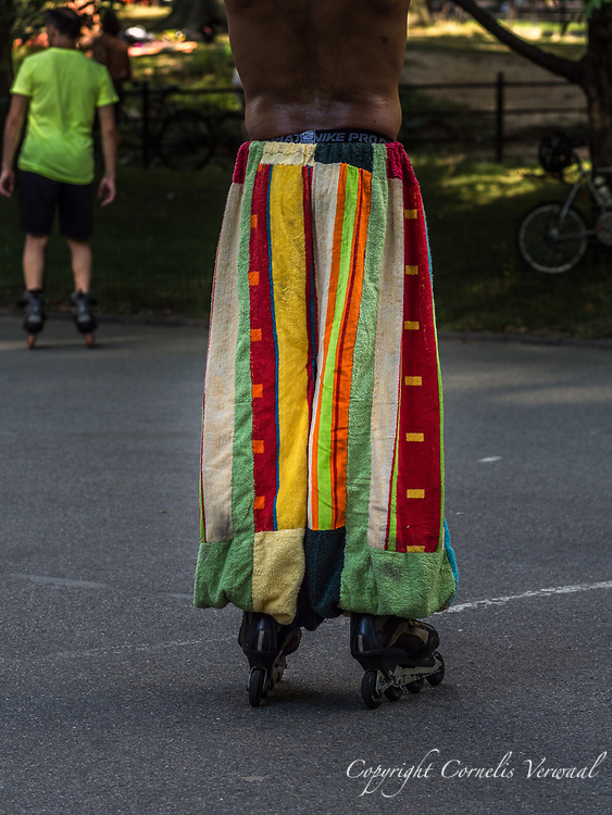 A fashion statement at the roller disco in Central Park