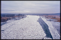 The Oder near Frankfurt an der Oder - the river which marks the border between Germany and Poland photographed in winter (Germany is on the right, Poland on the left).