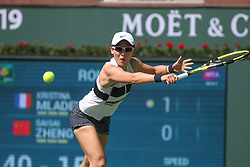 March 7, 2019 - Indian Wells, CA, U.S. - INDIAN WELLS, CA - MARCH 07: Saisai Zheng (CHN) stretches for a backhand during the BNP Paribas Open on March 7, 2019 at Indian Wells Tennis Garden in Indian Wells, CA. (Photo by George Walker/Icon Sportswire) (Credit Image: © George Walker/Icon SMI via ZUMA Press)