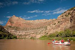 North America, United States, Utah, Dinosaur National Monument, Green River, rafts and kayaks