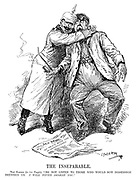 "The Inseparable. The Kaiser (to his people). ""Do not listen to those who would sow dissension between us. I will never desert you."" (Wilhelm II hugs a German by strangling him around the kneck as the newspaper headline reads No Peace With The Hohenzollerns during WW1)"