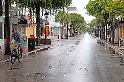 A lone cyclist rides along deserted Duval Street in Key West, FL, USA., on Saturday, September 9, 2017. Hurricane Irma is approaching the Florida Keys and some residents refused to be evacuated. Photo by Charles Trainor Jr./Miami Herald/TNS/ABACAPRESS.COM