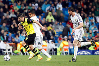 Real Madrid´s Casemiro and Xabi Alonso and Borussia Dortund's Milos Jojic during Champions League soccer match at Santiago Bernabeu stadium in Madrid, Spain. April 02, 2014. (ALTERPHOTOS/Caro Marin)