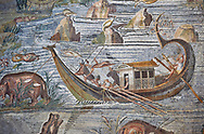 Detail picture of a boat on the Nile  from the famous Hellenistic Roman Palestrina Nilotic landscape Mosaic or Nile mosaic of Palestrina 1st or 2nd century BC.  Museo Archeologico Nazionale di Palestrina Prenestino  (Palestrina Archaeological Museum), Palestrina, Italy. .<br /> <br /> If you prefer to buy from our ALAMY PHOTO LIBRARY  Collection visit : https://www.alamy.com/portfolio/paul-williams-funkystock/roman-mosaic.html - Type -   Palestrina   - into the LOWER SEARCH WITHIN GALLERY box. Refine search by adding background colour, place, museum etc<br /> <br /> Visit our ROMAN MOSAIC PHOTO COLLECTIONS for more photos to download  as wall art prints https://funkystock.photoshelter.com/gallery-collection/Roman-Mosaics-Art-Pictures-Images/C0000LcfNel7FpLI