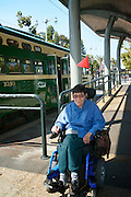 Bruce Oka on the wheelchair ramp after disembarking the F Line Streetcar at the Ferry Building in San Francisco