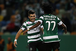 October 22, 2017 - Lisbon, Portugal - Sporting's midfielder Marcos Acuna (L) celebrates his goal with Sporting's forward Gelson Martins (R)  during Primeira Liga 2017/18 match between Sporting CP vs GD Chaves, in Lisbon, on October 22, 2017. (Credit Image: © Carlos Palma/NurPhoto via ZUMA Press)
