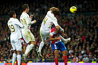 20120107: MADRID, SPAIN - BBVA League: Football macht between Real Madrid C.F vs Granada in Santiago Bernabeu, Madrid, Spain.<br /> In photo: Sergio Ramos in the second goal.<br /> PHOTO: CITYFILES