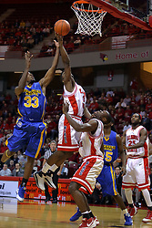06 December 2008: Osiris Eldridge get position on Leon Buchanan and pulls in a defensive rebound during a game where the  Illinois State University Redbirds extended their record to 9-0 with a 76-70 win over the Eagles of Morehead State on Doug Collins Court inside Redbird Arena on the campus of Illinois State University in Normal Illinois