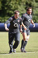Tom Croft (L) and Dylan Hartley (R) in action during the England elite player squad trainnig session at Pennyhill Park, Bagshot, UK, on 11th March 2011  (Photo by Andrew Tobin/SLIK images)