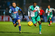 Plymouth Argyle forward Freddie Ladapo (19) on the ball during the EFL Sky Bet League 1 match between Wycombe Wanderers and Plymouth Argyle at Adams Park, High Wycombe, England on 26 January 2019.