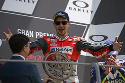 June 3, 2018 - Mugello, FI, Italy - Jorge Lorenzo of Ducati Team celebrate the victory of the MotoGP Oakley Grand Prix of Italy, at International  Circuit of Mugello, on May 31, 2018 in Mugello, Italy  (Credit Image: © Danilo Di Giovanni/NurPhoto via ZUMA Press)