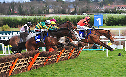 Tower Bridge and J J Slevin (white cap) on the way to winning the Nathaniel Lacy & Partners Solicitors Novice Hurdle during day one of the Dublin Racing Festival at Leopardstown Racecourse.