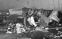 The barely recognisible remains of a car bomb which exploded in a side street of the Grosvenor Road, Belfast, N Ireland, UK, on 15th March 1972 in which two army technical officers, i.e. the bomb squad, died. The dead soldiers were Sgt Anthony Butcher, 24 years, married, and Staff Sgt Robin Cracknell, 29 years, married. 197203150153.<br /> <br /> Copyright Image from Victor Patterson, Belfast, UK, BT9 5HG<br /> <br /> t: +44 28 9066 1296 (from Rep of Ireland 048 9066 1296)<br /> m: +44 7802 353836<br /> <br /> victorpattersonbelfast@gmail.com<br /> www.victorpatterson.com<br /> <br /> Please see my Terms and Conditions of Use at https://www.victorpatterson.com/page2<br /> It is IMPORTANT that you familiarise yourself with them.<br /> <br /> Images used on the Internet incur an additional cost and must be visibly watermarked i.e. © Victor Patterson within the body of the image and copyright metadata must not be deleted. Images used on the Internet have a size restriction of 4kbs and are chargeable at rates available at victorpatterson.com.<br /> <br /> This image is only available for the use of the download recipient i.e. television station, newspaper, magazine, book publisher, etc, and must not be passed on to any third party. It is also downloaded on condition that each and every usage is notified within 7 days to victorpattersonbelfast@gmail.com.<br /> <br /> The right of Victor Patterson to be identified as the author is asserted in accordance with The Copyright Designs And Patents Act (1988). All moral rights are asserted.