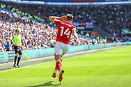GOAL 0-1 Bristol City's Andreas Weimann (14) celebrates scoring his side's first goal during the EFL Sky Bet Championship match between Cardiff City and Bristol City at the Cardiff City Stadium, Cardiff, Wales on 28 August 2021.