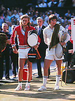 Tennis - 1977 Wimbledon Championships - Men's Singles Final<br /> <br /> The finalists Bjorn Borg, left, and Jimmy Connors, on Centre Court.<br /> <br /> Borg won the match 3-6 6-2 6-1 5-7 6-4 to win his second Wimbledon title.