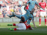 Alvaro Negredo of Middlesbrough in action with Ben Mee of Burnley during the Premier League match at the Riverside Stadium, Middlesbrough. Picture date: April 8th, 2017. Pic credit should read: Jamie Tyerman/Sportimage