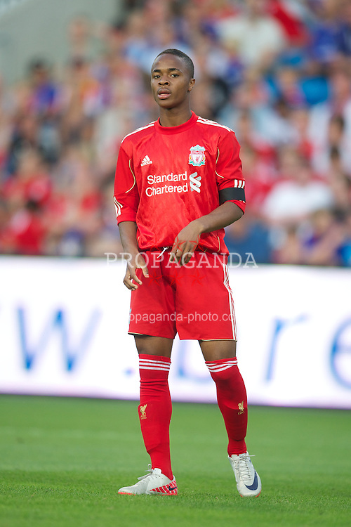 OSLO, NORWAY - Monday, August 1, 2011: Liverpool's Raheem Sterling in action against Valerenga during a preseason friendly match at the Ulleval Stadion. (Photo by David Rawcliffe/Propaganda)