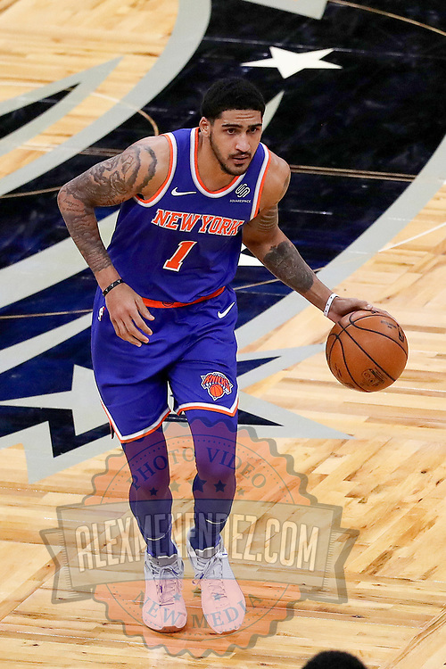 ORLANDO, FL - FEBRUARY 17:   Obi Toppin #1 of the New York Knicks controls the ball against the Orlando Magic at Amway Center on February 17, 2021 in Orlando, Florida. NOTE TO USER: User expressly acknowledges and agrees that, by downloading and or using this photograph, User is consenting to the terms and conditions of the Getty Images License Agreement. (Photo by Alex Menendez/Getty Images)*** Local Caption *** Obi Toppin