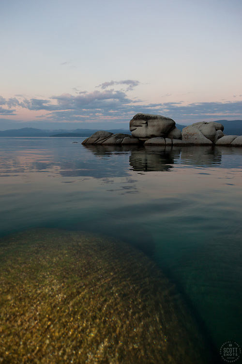 """""""Tahoe Boulders at Sunrise 3"""" - These boulders were photographed at sunrise near Speedboat Beach, Lake Tahoe"""