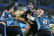 Cardiff Blues v Australia at the Cardiff City Stadium on Tuesday 24th Nov 2009. pic by Andrew Orchard, Andrew Orchard sports photography. Scott Morgan of Cardiff Blues gets to grips with Australia's Dean Mumm.
