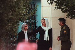 L-R : Princess Basma and Queen Noor seen during funeral in Amman, Jordan on February 8, 1999. Twenty years ago, end of January and early February 1999, the Kingdom of Jordan witnessed a change of power as the late King Hussein came back from the United States of America to change his Crown Prince, only two weeks before he passed away. Photo by Balkis Press/ABACAPRESS.COM