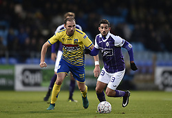 November 26, 2017 - Westerlo, BELGIUM - Westerlo's Maxime Annys and Beerschot's Hernan Losada fight for the ball during a soccer game between KVC Westerlo and KFCO Beerschot Wilrijk, in Westerlo, Sunday 26 November 2017, on day 17 of the division 1B Proximus League competition of the Belgian soccer championship. BELGA PHOTO JOHN THYS (Credit Image: © John Thys/Belga via ZUMA Press)