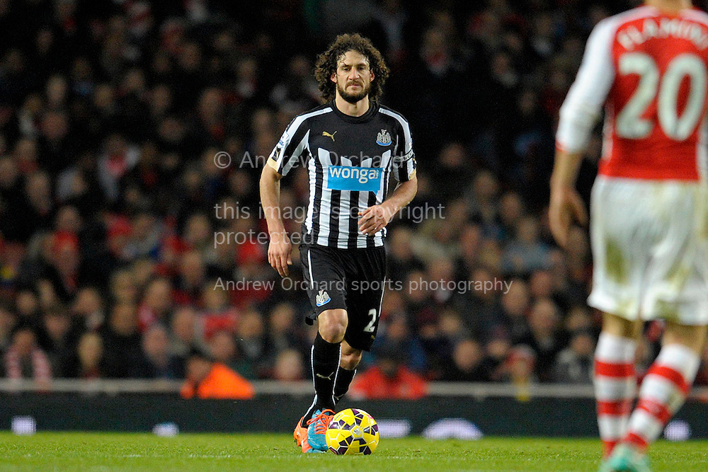 Fabricio Coloccini, the Newcastle United Capt in action. Barclays Premier league match, Arsenal v Newcastle Utd at the Emirates Stadium in London on Saturday 13th December 2014.<br /> pic by John Patrick Fletcher, Andrew Orchard sports photography.