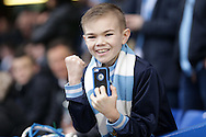a young Manchester City fan poses during warm up before k/o. The Emirates FA Cup, 5th round match, Chelsea v Manchester city at Stamford Bridge in London on Sunday 21st Feb 2016.<br /> pic by John Patrick Fletcher, Andrew Orchard sports photography.