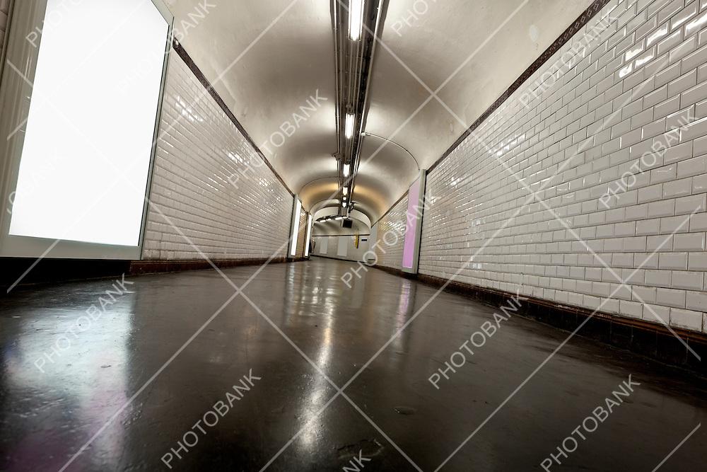 Old underground tunnel illuminated with neon