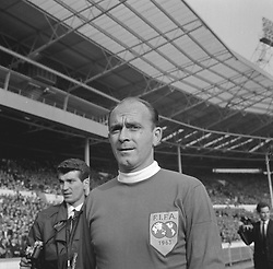Spain's Alfredo Di Stefano, 37, the Argentinian-born centre-forward recently in England for the Rest of the World match at Wembley. Known as the 'White Arrow', he is a naturalised Spaniard.
