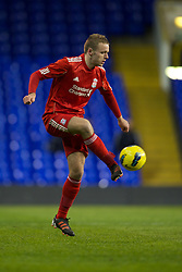 LONDON, ENGLAND - Wednesday, February 1, 2012: Liverpool's Ryan McLaughlin in action against Tottenham Hotspur during the NextGen Series Quarter-Final match at White Hart Lane. (Pic by David Rawcliffe/Propaganda)