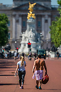 Enjoying walking on The Mall as the sun comes out again. The 'lockdown' continues for the Coronavirus (Covid 19) outbreak in London.