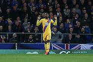 Christian Benteke of Crystal Palace celebrates after scoring his teams 1st goal. Premier league match, Everton v Crystal Palace at Goodison Park in Liverpool, Merseyside on Friday 30th September 2016.<br /> pic by Chris Stading, Andrew Orchard sports photography.