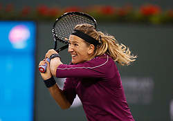 March 8, 2019 - Indian Wells, CA, U.S. - INDIAN WELLS, CA - MARCH 08: Victoria Azarenka (BLR) hits a backhand during the second round of the BNP Paribas Open on March 08, 2019, at the Indian Wells Tennis Gardens in Indian Wells, CA. (Photo by Adam Davis/Icon Sportswire) (Credit Image: © Adam Davis/Icon SMI via ZUMA Press)