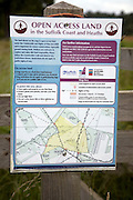 Open Access land sign and map, Shottisham, Suffolk, England