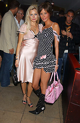 Left to right, actress ANOUSKA DE GEORGIOU and model JASMINE LENNARD at fashion label Wheels & Dollbaby's summer party at the Embassy nightclub, Old Burlington Street, London W1 on 19th July 2005.<br />