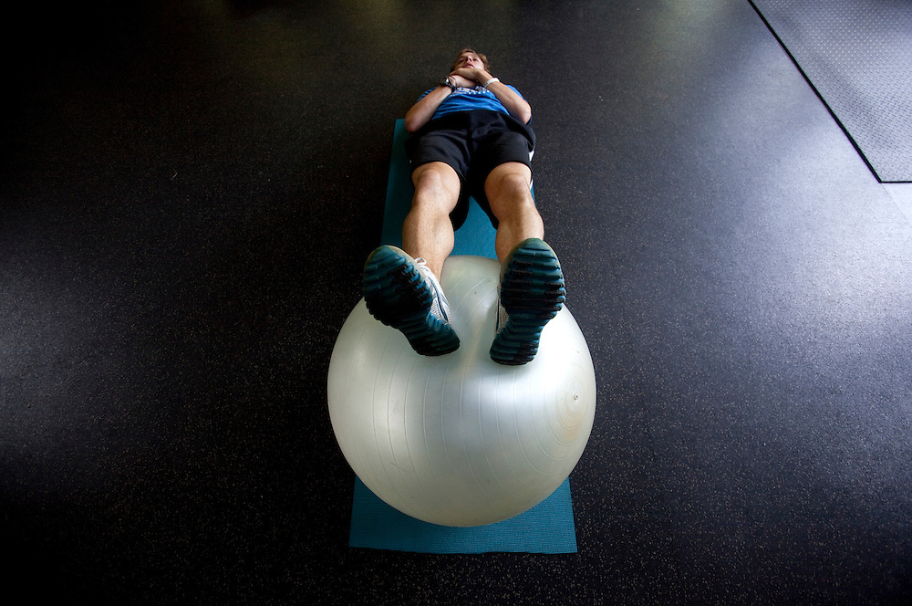 Zap Fitness athlete Cole Atkins goes through a workout session at the Zap training center in Blowing Rock, NC..