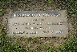 31 August 2017:   Veterans graves in Park Hill Cemetery in eastern McLean County.<br /> <br /> Benjamin H Morgan  Illinois  Private 4 Co Coast Artillery  World War I  March 2 1889  Dec 14 1963
