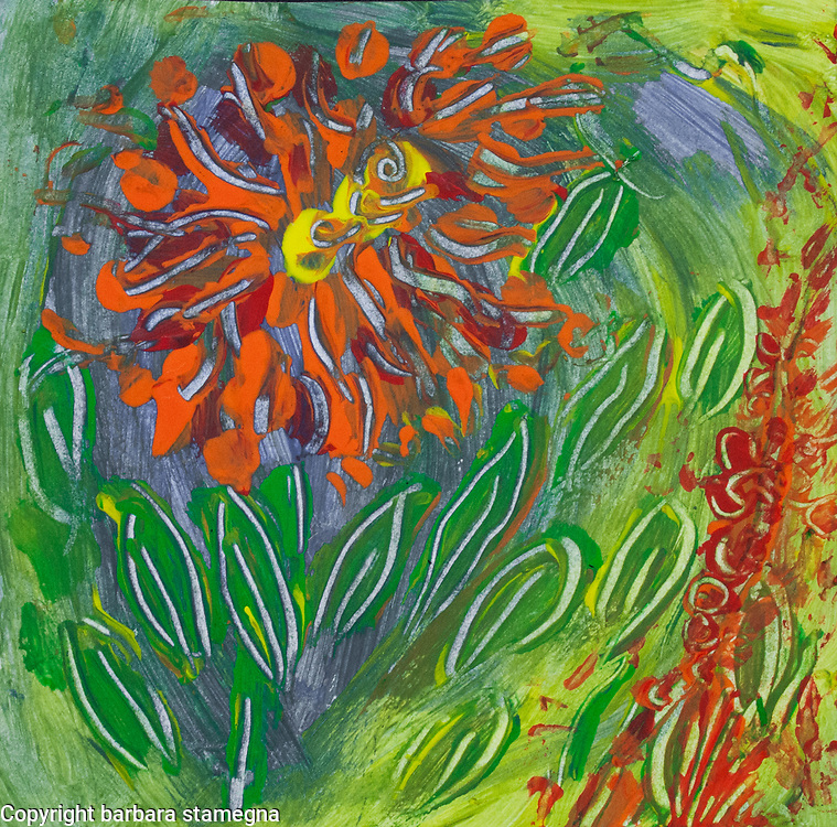 Abstract orange flower like image with leaves and spots of color on fluid green, yellow and blue background in tones of orange, red, yellow, green and blue colors, with shades.