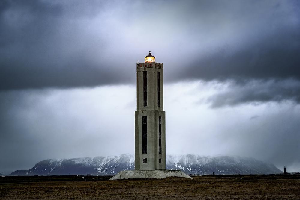 Knarraros Lighthouse on the south coast of Iceland.