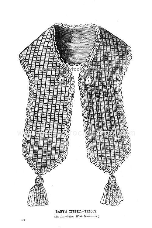 Baby's Tippet - Tricot from Godey's Lady's Book and Magazine, December, 1864, Volume LXIX, (Volume 69), Philadelphia, Louis A. Godey, Sarah Josepha Hale,