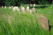 AREJH2 Country churchyard with grave headstones and long overgrown grass Suffolk England. Image shot 10/2006. Exact date unknown.